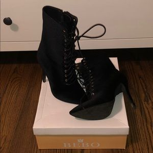 Shoes - Velvet lace up booties
